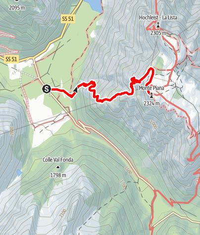 Mapa / Sommerwanderung: Schluderbach - Monte Piano