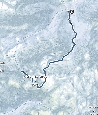 Cartina / Sci alpinismo al Puez attraverso Antersasc
