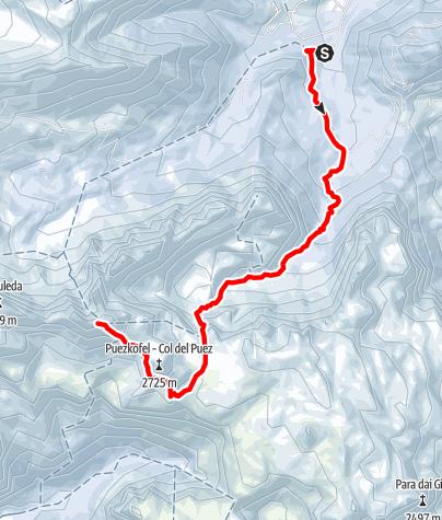Map / Skitour to Puez peak across Antersasc