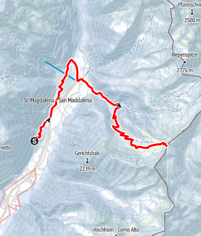 Karte / Schneeschuhtour: Kalksteinjöchl in St. Magdalena/Gsieser Tal