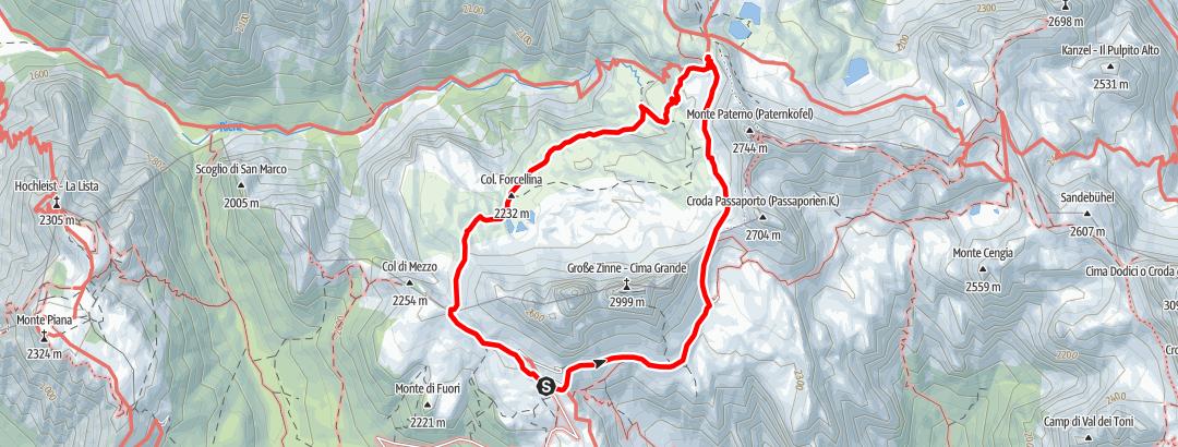 Mapa / Sommer-Rundwanderung: Drei Zinnen