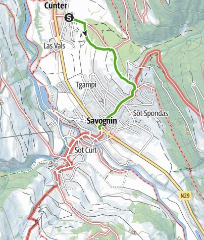 Karte / Cunter - Badogna - Lareschs - Savognin
