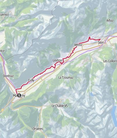 Map / Vineyard Trail from Martigny to Sion (stage 1)