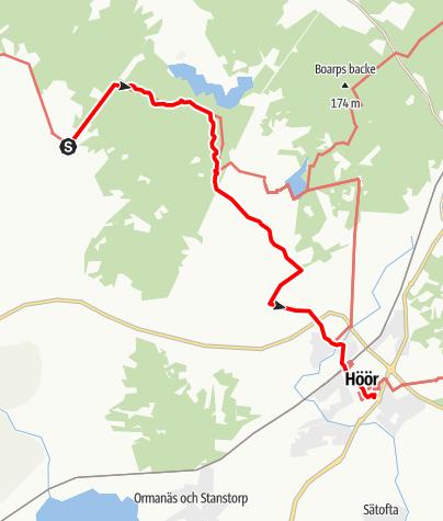 Karta / Sankta Magnhilds väg, Hallaröds kyrka till Höörs kyrka