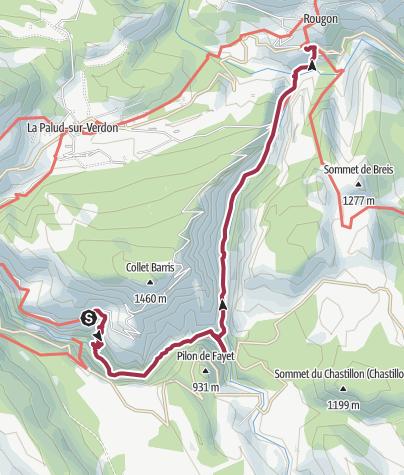 Carte / À travers les gorges du Verdon près de Rougon