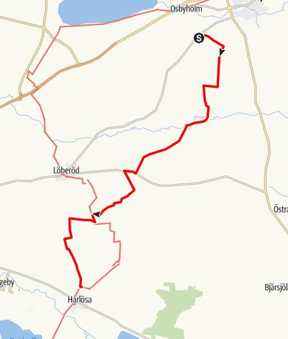 Karta / Sankta Magnhildds väg, Sankta Annas kyrka i Lyby till Harlösa kyrka