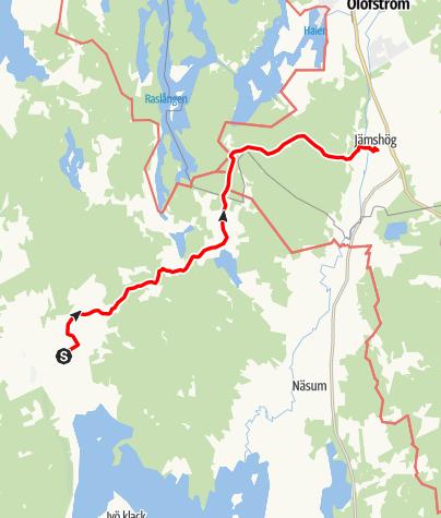 Karta / Paradisvägen, Vånga kyrka till Jämshögs kyrka
