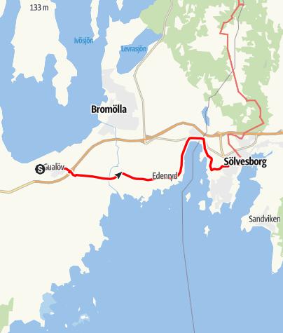 Map / Eginoleden, Gualövs kyrka till Sankt Nicolai kyrka i Sölvesborg