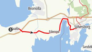 Karta / Eginoleden, Gualövs kyrka till Sankt Nicolai kyrka i Sölvesborg