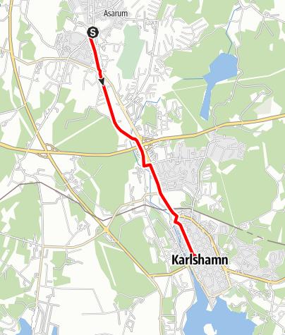 Map / Eginoleden, Asarums kyrka till Karlshamns kyrka