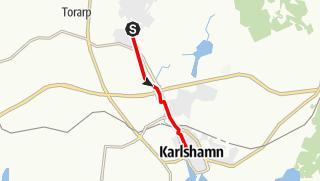 Karta / Eginoleden, Asarums kyrka till Karlshamns kyrka