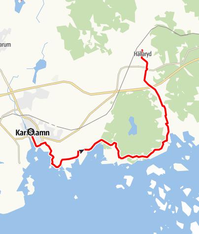 Map / Eginoleden, Karlshamns kyrka till Hällaryds kyrka