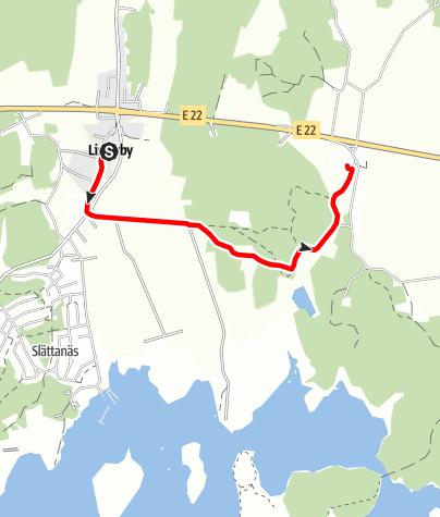Map / Eginoleden, Listerbys kyrka till Förkärla kyrka