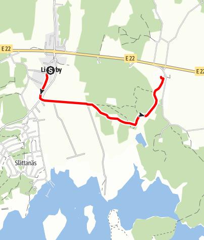 Karta / Eginoleden, Listerbys kyrka till Förkärla kyrka