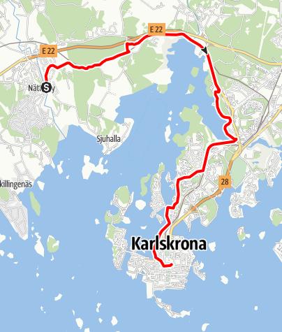 Map / Eginoleden, Nättrabys kyrka till Karlskronas kyrka