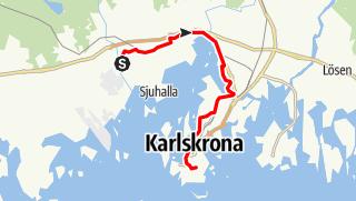 Karta / Eginoleden, Nättrabys kyrka till Karlskronas kyrka