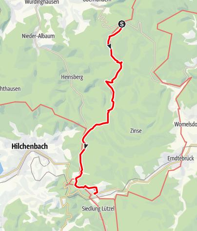 Karte / Rothaarsteig Etappe Rhein-Weser-Turm - Hilchenbach-Lützel