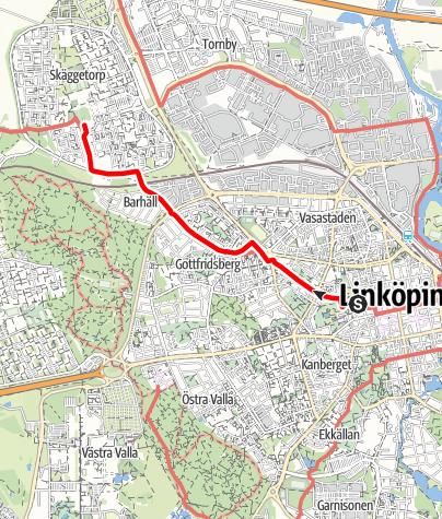 Karta / Birgittaleden, Domkyrkan i Linköping till Skäggetorps kyrka