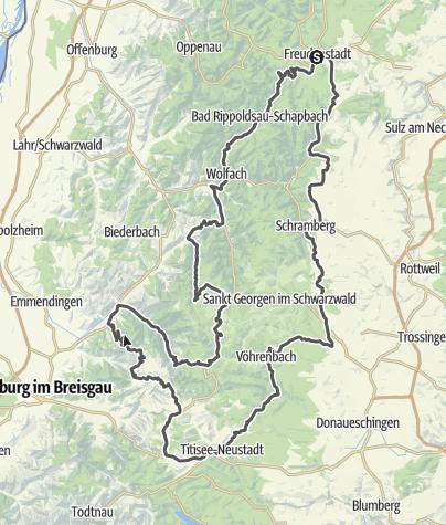 Karte / Motorradtour 2 - Vom Nordschwarzwald in den Südschwarzwald