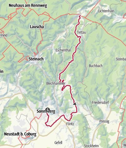 Karte / Lutherweg: Etappe 18 - Von Sonneberg nach Spechtsbrunn