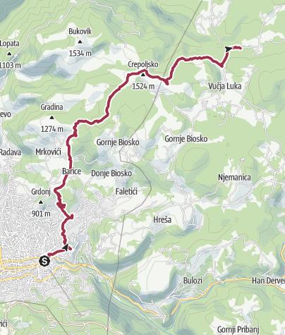 Map / Hiking from Sarajevo to Vukov Konak