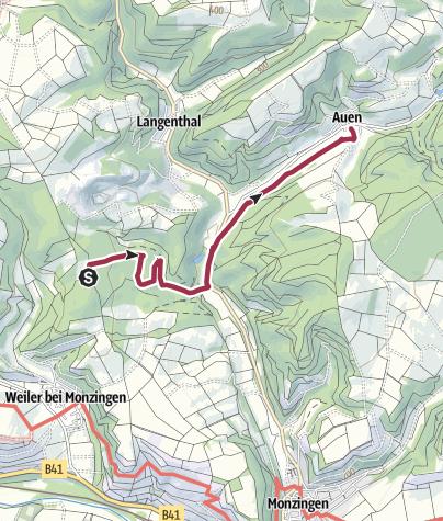 Carte / Wanderung von Weiler bei Monzingen nach Auen