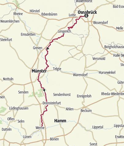 Karte / Pilgerweg 1: Osnabrück - Werne