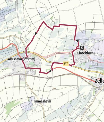 Karte / Zellertalweg (Rundweg Einselthum - Albisheim - Kleinmühle)