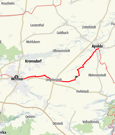 Map / Luther Trail: Section 25 – From Weimar to Apolda