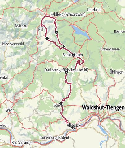 Karte / Albsteig Schwarzwald - Albbruck bis zum Feldberg-Pass