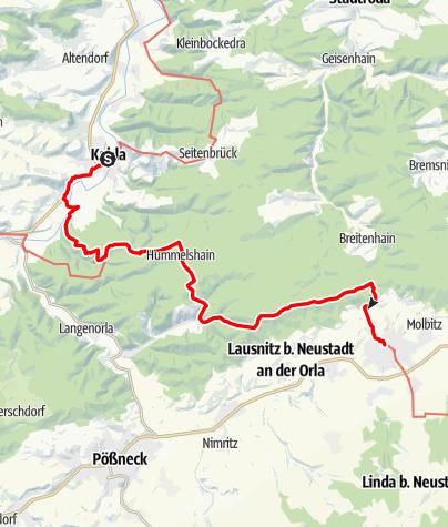 Karte / Lutherweg: Etappe 28 - Von Kahla nach Neustadt an der Orla