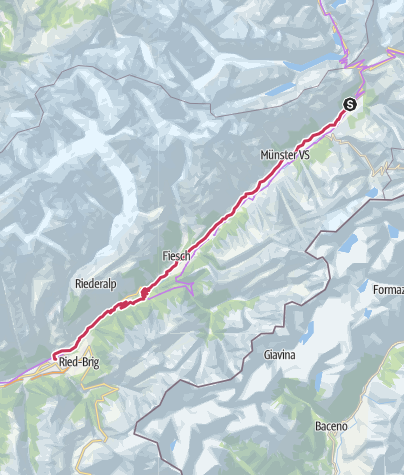 Map / Valais Cycling Tour: Oberwald - Brig (stage 4)