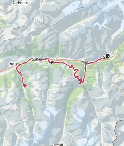 Carte / Valais Vélo Tour: Brig - St.Luc Anniviers (étape 5)