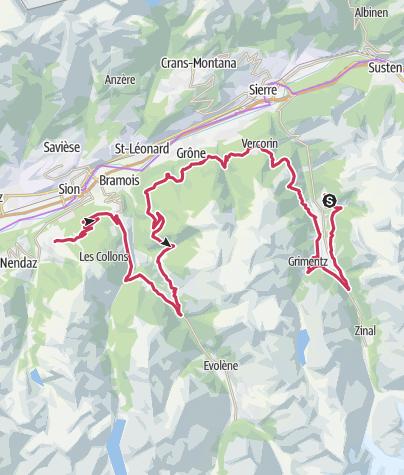 Map / Valais Cycling Tour: St. Luc Anniviers - Veysonnaz (stage 6)