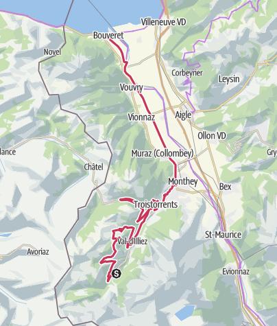 Map / Valais Cycling Tour: Champéry - Le Bouveret (stage 9)