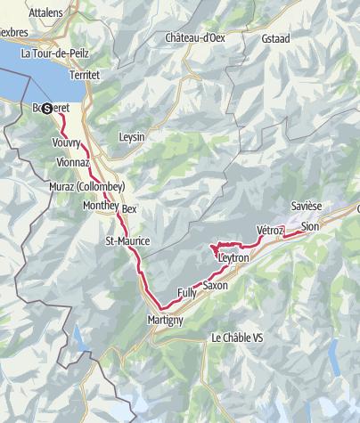 Map / Valais Cycling Tour: Le Bouveret - Sion (stage 10)