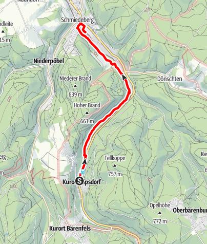 Karte / Bahnwanderweg  Kipsdorf-Schmiedeberg