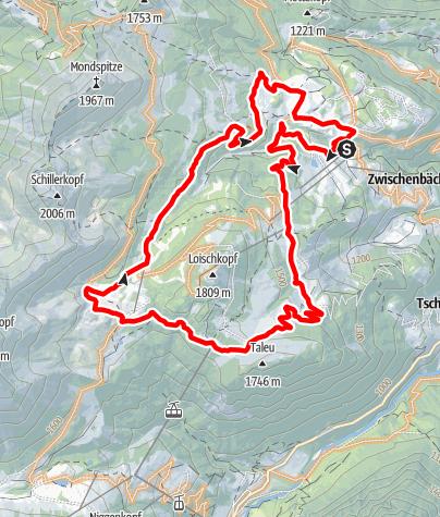 Karte / Kleine Runde um den Loischkopf | Bürserberg