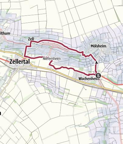 Map / Zellertalweg (Rundweg Wachenheim - Mölsheim - Zell - Niefernheim)