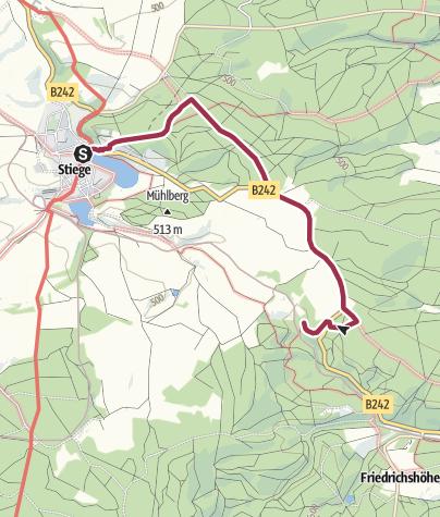 Karte / Wanderung von Stiege zum Kanonenplatz