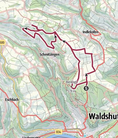 Karte / Waldshut-Tiengen: Zwischen Waldshut, Indlekofen und Schmitzingen