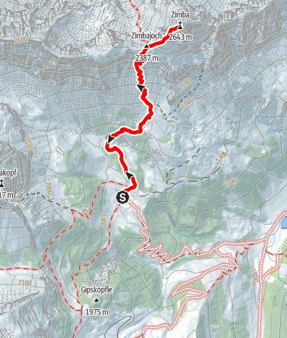 Map / Klettertour Zimba Westgrat - Gipfelbesteigung im Rätikon