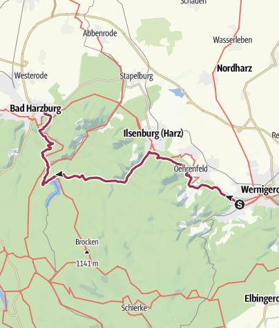 Karte / Brockenrundwanderung 1. Etappe Wernigerode - Bad Harzburg