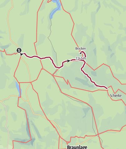 Karte / Brockenrundwanderung 4. Etappe Torfhaus - Schierke