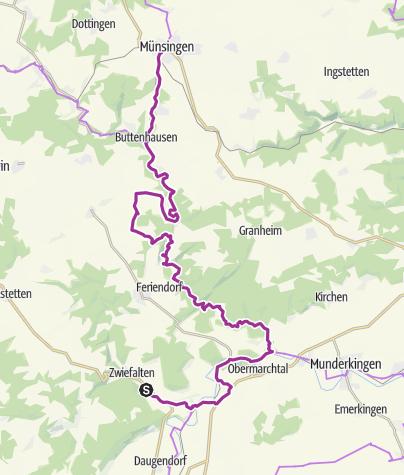Karte / Münsingen e-Bike Tour 6 - Albhof-Tour Tag 2