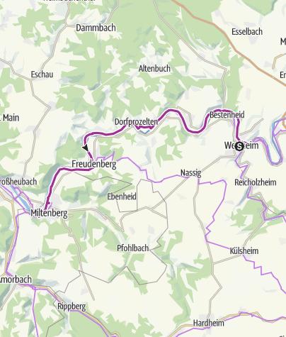 Karte / Churfranken Radtour Südspessart – fünf Burgen am Main