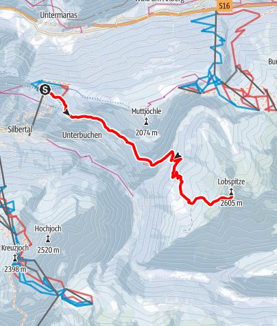 Karte / Skitour vom Kristberg auf den Gipfel Lobspitze (2.605m)