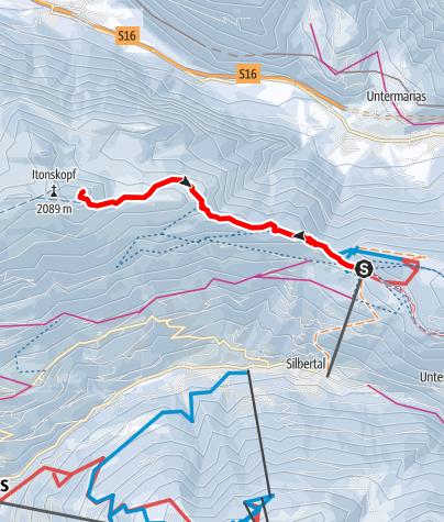 Map / Skitour vom Kristberg auf den Alpilakopf (über Obere Wies)