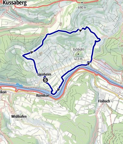 Karte / Von Lienheim über die Höhen des Rügihau an den Rhein