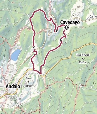 Cartina / Cavedago: piazza san Lorenzo – località Pozza – san Tommaso – Priori – Lavezol – Maso Tomas